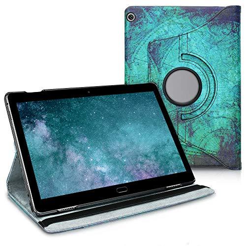 kwmobile Funda Compatible con Huawei MediaPad M3 Lite 10 - Carcasa de Cuero sintético para Tablet Ancla y Mapa Blanco/Azul
