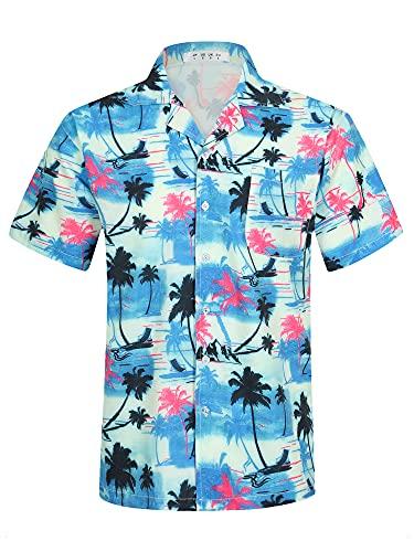 APTRO Herren Hemd Hawaiihemd Freizeit Hemd Kurzarm Urlaub Hemd Reise Shirt HW009 L