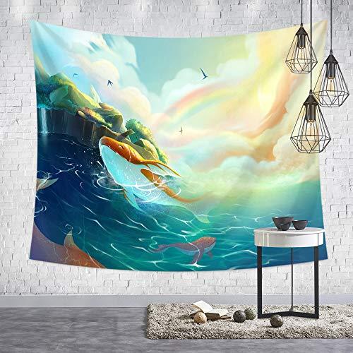 GenericBrands Ballena de Dibujos Animados Fantasy Shark Tapestry Tapiz de Pared Decoración para Dormitorio Sala de Estar Dormitorio Fondo Yoga Picnic Mat