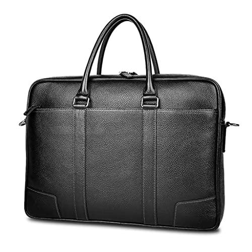 WQXD Hombres Maletín de Cuero Genuino Convertible 15 Pulgadas Laptop Messenger Bags Bolso Multifunción Bolso de Hombro de Negocios (Color : Black, tamaño : 15.6 Inch)