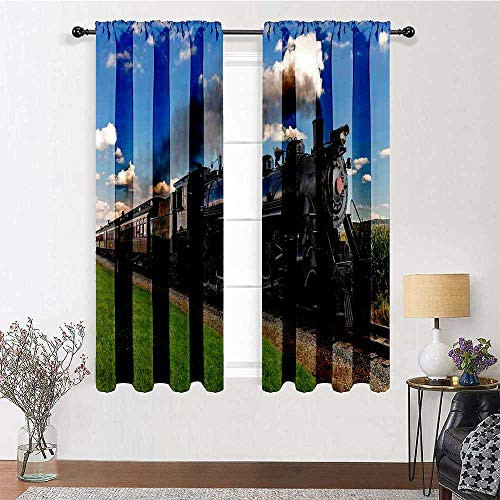 """Blackout Curtain 96 inch Length, Steam Engine Curtain Panels 72"""" x 96"""" - Vintage Locomotive in Countryside Scenery Green Grass Puff Train Picture, Blue Green Black"""