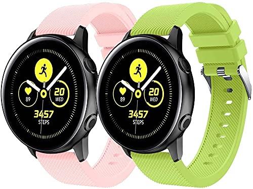 Correa de Reloj de Silicona Suave Compatible con Galaxy Watch Active/Active 2 / Active 3 / Watch 42mm, Repuesto Ideal (20mm, Pattern 2+Pattern 9)