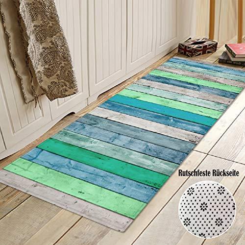 PETSOLA Küchenläufer Teppichläufer rutschfest waschbar Läufer Küchenteppich Teppich Schmutzfangmatte Eingangsmatte für Innen und außen - Blau, 60 x 180 cm
