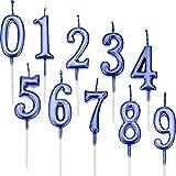 Yaomiao 10 Piezas de Velas de Números de Cumpleaños Velas de Tartas Topper de Pastel Dorado de Número 0-9 Adornos para Favores de Fiesta de Cumpleaños (Azul)