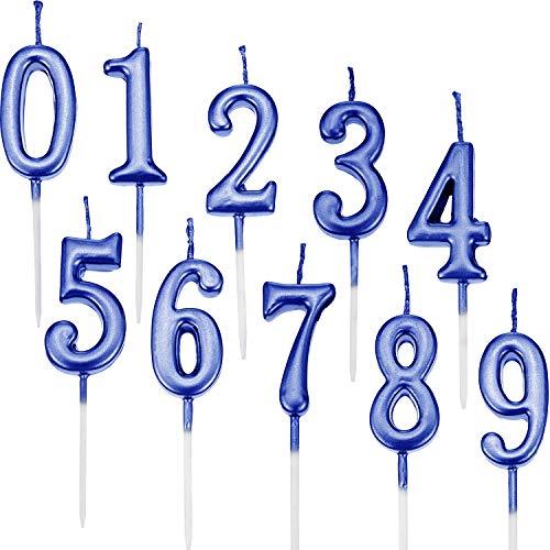 Yaomiao 10 Pezzi Compleanno Numerale Candele Torta Numerale Candele Numero 0 - 9 Glitter Torta Topper Decorazione per Bomboniera Festa di Compleanno (Blu)