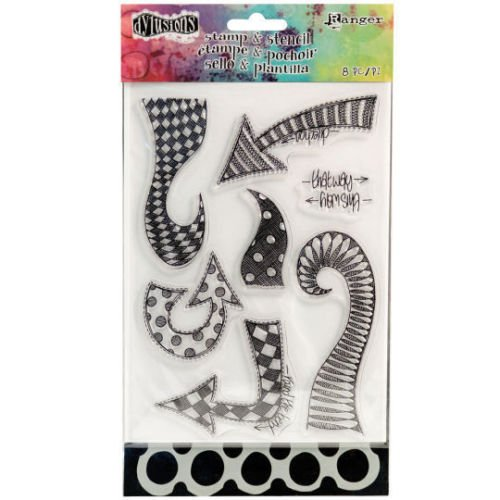 Ranger Dylusions Clear Stamp & Stencil Set - Dyan Reaveley - Doodled Circles