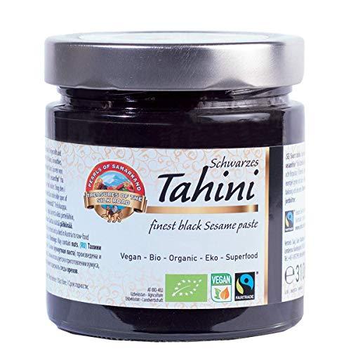 Tahin Noir BIO 310g biologique, Pâte crème de Sésame Intégral complet Fairtrade, Tahini de commerce équitable Max Havelaar, Brut, Sans Sel, Tahina, pour Houmous