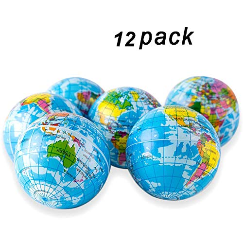 """Globe-Squeeze-Stress-Ball World Stress Ball, 3"""" Globe Bouncy Ball Earth Squishy Ball Mini Globes of the World Party Favor-12 Pack"""