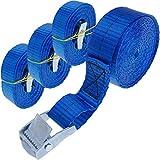PrimeMatik - Correa de sujeción con Hebilla 25 mm x 2,5 m 250 kg Azul (Pack 4)