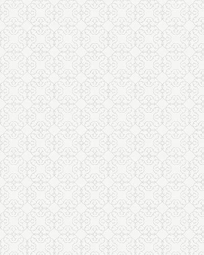 Tapete - Ornamental - Weiß - Klassisch, Romantisch, Shabby Chic - für Schlafzimmer, Wohnzimmer oder Küche - 10,05m x 0,53m - Made in Germany