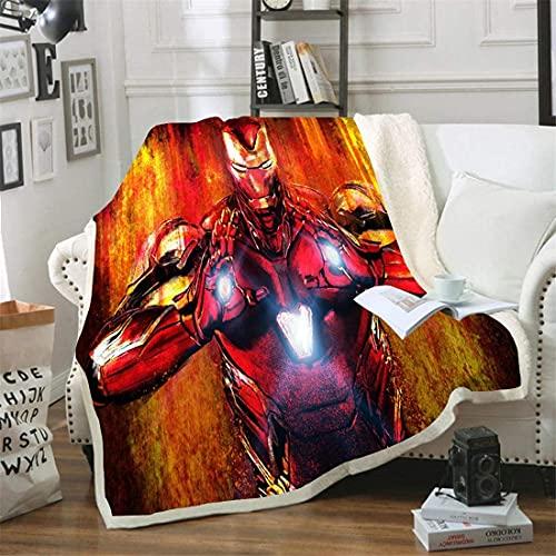 PHUAN Superhéroe Iron Man 3D Imprimir Manta Los Vengadores Marvel Sofá Cama Lanza para Niños Viajes De Adultos Flannel Flanela Tirar Espesar Sherpa Fleece Mantas (Color : 10, Size : 180 * 200cm)