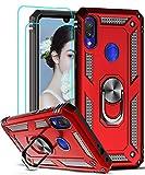LeYi Funda XiaoMi Rdemi Note 7 Armor Carcasa con 360 Anillo iman Soporte Hard PC y Silicona TPU Bumper antigolpes Fundas Carcasas Case para movil Rdemi Note 7 con HD Protector de Pantalla,Rojo