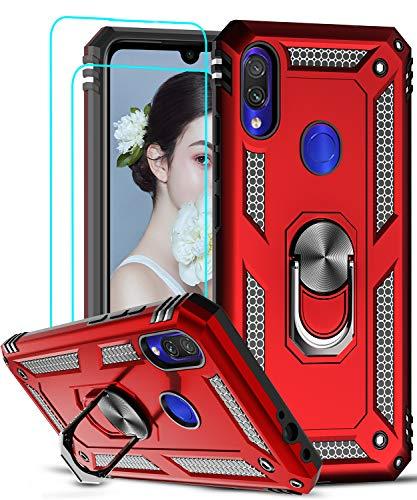 LeYi Cover Xiaomi Redmi Note 7 7 PRO, 360°Girevole Regolabile Ring Armor Bumper TPU Case Magnetica Supporto Smartphone Silicone Cover con HD Pellicola per Xiaomi Redmi Note 7 7 PRO Rossa