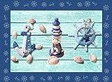 tappeto passatoia vinile tema mare in tonalità sky blue per arredare cucina e camera misura 50x180 cm