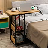 Height Adjustable Medical Overbed Table on Wheels 2-Tier Book Storage Shelves Mobile Laptop Computer Stand...