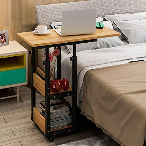 FakeFace Computertisch mit Rollen Laptoptisch Höhenverstellbar Laptopständer Holz Drehbar PC-Tisch Ständer für iPad Tablete Mobilphone, Laptop Tisch für Bett Sofa Rollstuhl 80cm