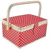 Cajas de Costura con Compartimentos, Cestas de Costura, Organizador de Costura Artesanal de Tela de lunares con Tapa Abatible Para Viajes a Casa, 23.8 x 17.5 x 12.9cm