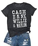 Cash Hank Willie and Waylon Letter Print T Shirt Top Women Short Sleeve Country Music Shirt Tee Size S (Gray)