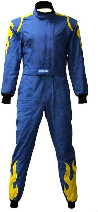 jxhracing RB-CR027 One-piece Auto GO Racing Suit-Blue-Larg Limited price sale Karts Fresno Mall