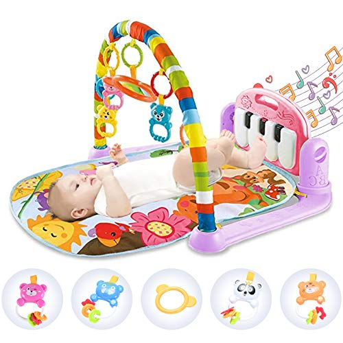Hoopeum Baby Play Mat Toys for 0-3-6-12 Months,Activity Jungle Gym Playmat Tummy Time Mat with Piano,Newborn Infant Baby Boys Girls Musical Floor Play Kick & Play Mat for Christmas Toys Gift