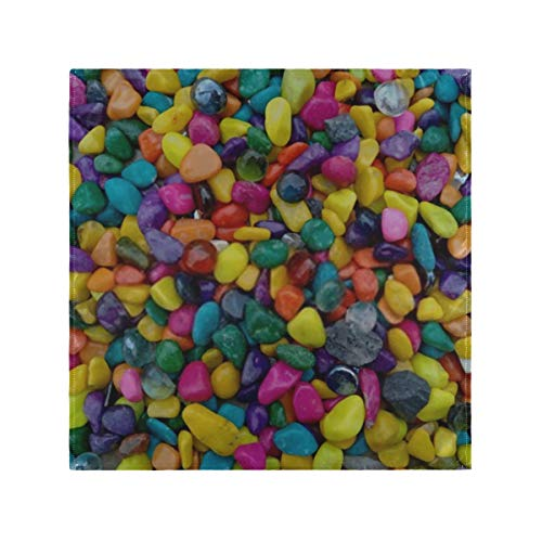 YUXB Cloth Napkin 6 Pack 20 Inch Washable Dinner Napkins Beautiful Multi Colored Pebbles Stone Satin Cloth Napkins Great for Weddings, Parties, Holiday Dinner & More