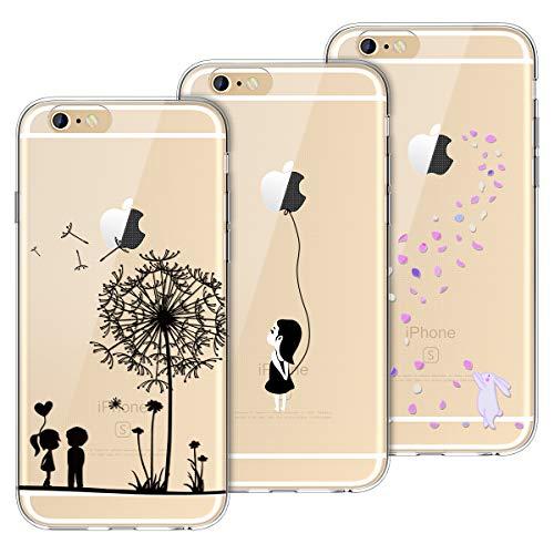 Yokata Kompatibel mit iPhone 6 Hülle iPhone 6S Hülle Silikon Transparent Durchsichtig Handyhülle Schutzhülle TPU Dünn Slim Kratzfest mit Motiv Muster [3 Pack] - Löwenzahn + Weißer Hase + Mädchen