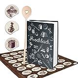 Set ricettario piccolo da scrivere in bianco e nero, vintage, nostalgico, DIN A5 + adesivo da cucina vintage + cucchiaio da cucina copertina rigida libro di ricette preferite – regalo cucina cucina
