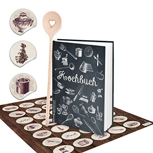 SET receptenboek klein om zelf te schrijven, zwart wit vintage nostalgie, DIN A5 + keuken stickers vintage + kooklepel Hardcover kookboek