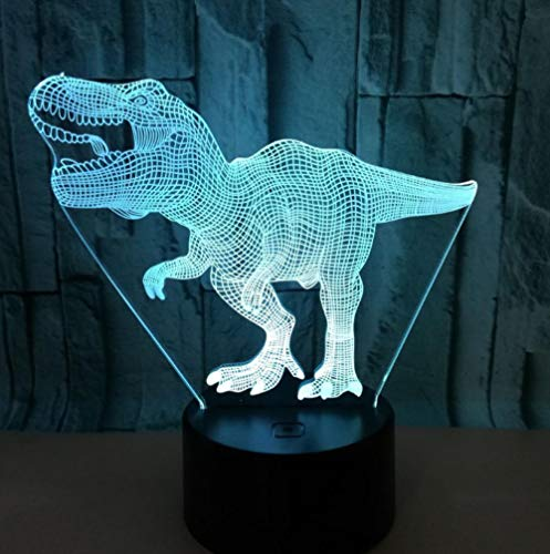 JFAFJ 3D Optical Illusion Night Light for Boys Dinosaur 7 Color Changing Touch Table Desk Lamp for Kids Bedroom,USB Charger Pretty Cool Gifts for Birthday X-mas Holiday Valentine's Day
