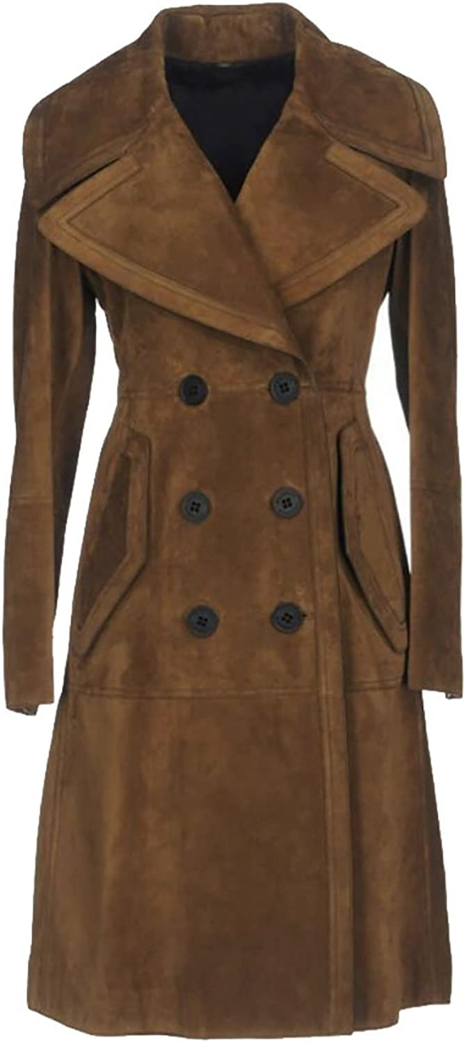 GAGA Women's Double Breasted Lapel Suede Long Trench Coat Outwear