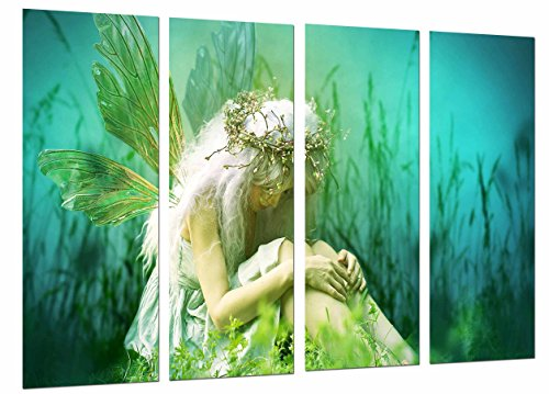 Cuadros Cámara Cuadro Fotográfico Fantasia Mujer Rubia, Hada Alas Triste Naturaleza Verde, 131 x 62 cm XXL