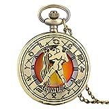 DFGHJK Reloj De Bolsillo con Cadena Bronce Antiguo Doce Constelaciones Tema Cuarzo Números Romanos Pantalla Colgante Reloj Regalos De Cumpleaños Acuario