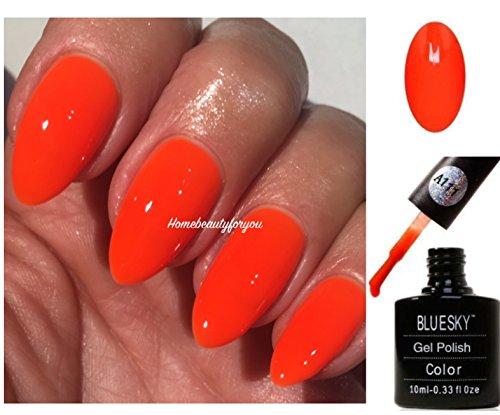 Bluesky BLUESKY Gel Polish, Orange Hot Chilli, A111, 10ml, Gel auflösbarer Nagellack, Orange, Rot, Neon (Aushärtung unter UV-/LED Lampe erforderlich) er Pack(x)