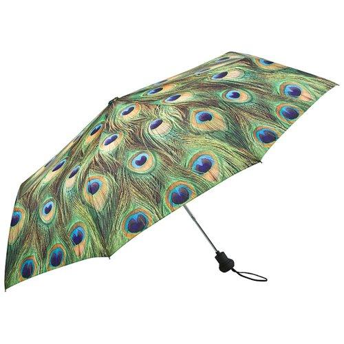 VON LILIENFELD Regenschirm Taschenschirm Stabil Leicht Auf-Automatik Damen Motiv Pfau