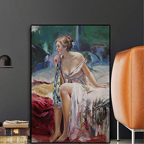 tzxdbh Ölgemälde Leinwand Hintergrund Wandbehang Schönheit Lady Renaissance Era Classic Portrait Pop Geeignet für Wohnzimmer in Galerie Zimmer mit Gehweg Treppe