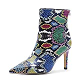 ARQA Snake Print Boots Sexy Pointed Toe Ankle Boots Stiletto Heel Snakeskin PU Booties Zipper