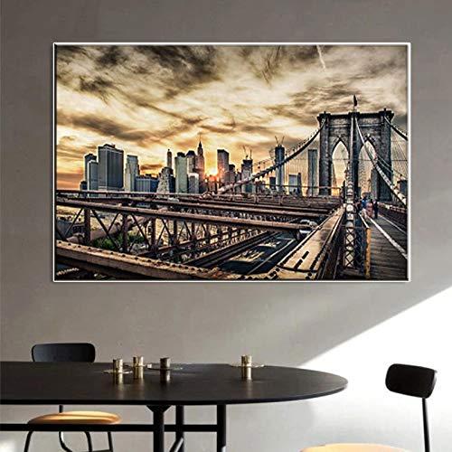 Cartel de paisaje de puente de Brooklyn de arquitectura moderna lienzo decorativo arte de pared imagen de sala de estar impresiones de arte de pared 50x75CM sin marco