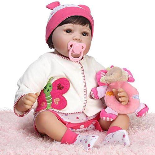 SHTWAD Simulation Wiedergeboren Baby Doll Sch  mädchen Spielzeug Soft Silikon Lebensechte Auge Ge net Weißachten Geschenk 55cm