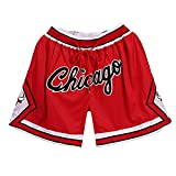 GDFSG Pantalones cortos de baloncesto para hombre, de malla, estilo retro, Chicago Bulls Swingman, pantalones cortos de playa holgados (Chicago Red,L)