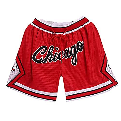GDFSG Herren Basketball Shorts Mesh Basketball Retro Chicago Bulls Swingman Sports Shorts Beiläufige Bequeme Lose Strand-Kurzschlüsse(Chicago Red,M.)