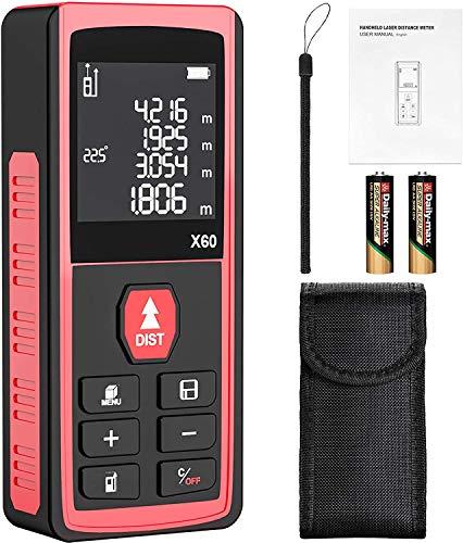 Telémetro láser, papasbox 60M Profesional Medidor Laser de Distancia Metro Laser con Sensor de Ángulo Electrónico LCD Pantalla Reiluminada IP54 Rápida Medición de Distancia Volumen y área(B60-rojo)
