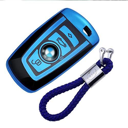kaser Autoschlüssel Hülle für BMW – Cover TPU Silikon Hochglanz Schutzhülle Schlüsselhülle für BMW Keyless Serie 1 3 5 7 X1 X3 X4 X5 F30 E30 (Blau)