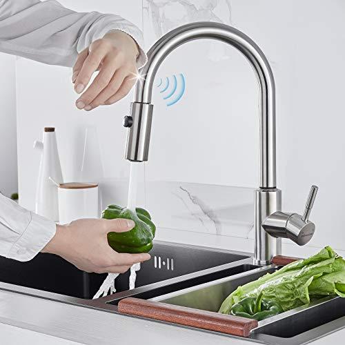 BONADE Grifo de Cocina con Sensor Táctil Grifo para Fregadero con Ducha Extraíble con 2 Modos de Chorros Grifo Mezclador de Cocina Giratorio de 360° de Acero Inoxidable sin Plomo