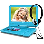 """THZY DR.J 5 Hours 9.5"""" Kids Portable DVD Player with Headphone Built-in Rechargeable Battery and USB/SD Card Reader, 5.9ft Car Charger & AC Battery Adapter"""