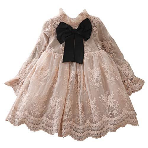 NNJXD Mädchen Blumenkleid Spitze Prinzessin Kinder lässig Party Kleidung Größe(110) 3-4 Jahre 1224 Rosa-A