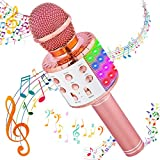 Karaoke Microphone for Kids Adults Wireless Bluetooth Karaoke Microphone for Singing w/ LED Lights Magic Voice Changer, Portable Microphone for Kids 2 3 4 5 6 7 8 Year Old Girls Boys Toys Home KTV