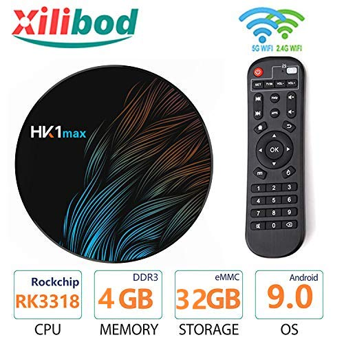 Xilibod HK1 Max Android 9.0 TV Box 4GB RAM 32GB ROM RK3318 5G/2.4G WiFi with Bluetooth 3D 4K 1080P Smart TV Box