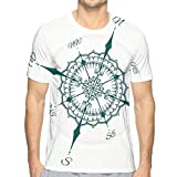 AIQIIA Mens 3D Printed T Shirts,Hand Drawn Compass with Floral Arrangement Design Compass Boating Theme Print Style L