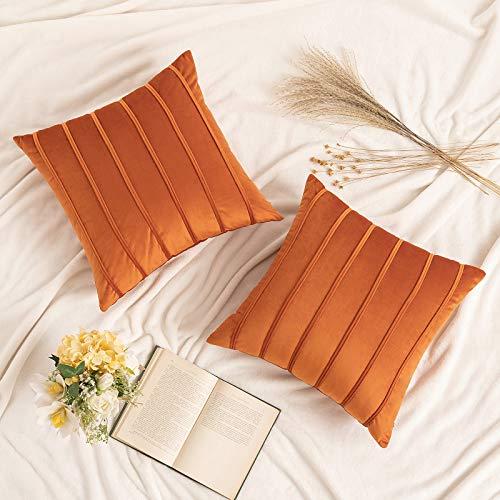MIULEE 2 Piezas Funda de Cojines de Terciopelo Super Suave Funda de Almohada de Sofá Decoración Moderna para Oficina Sofa Cama Sala de Estar Dormitorio Habitación Silla 45x45cm Naranja
