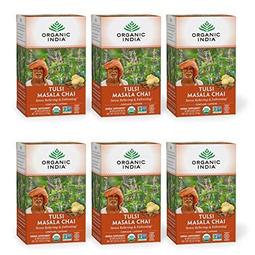 Organic India Tulsi Masala Chai Tea, Immune Support, Organic, Non-GMO, and Fair Trade, 18 Infusion Bags (Pack of 6)